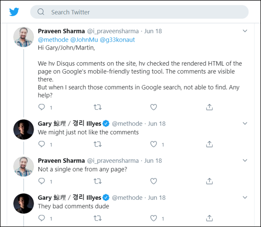 Twitter - Disqus Comments Not Getting Indexed