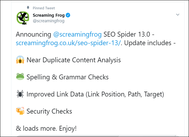 Screaming Frog Tweet