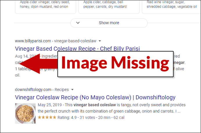 Image Missing in Google Search