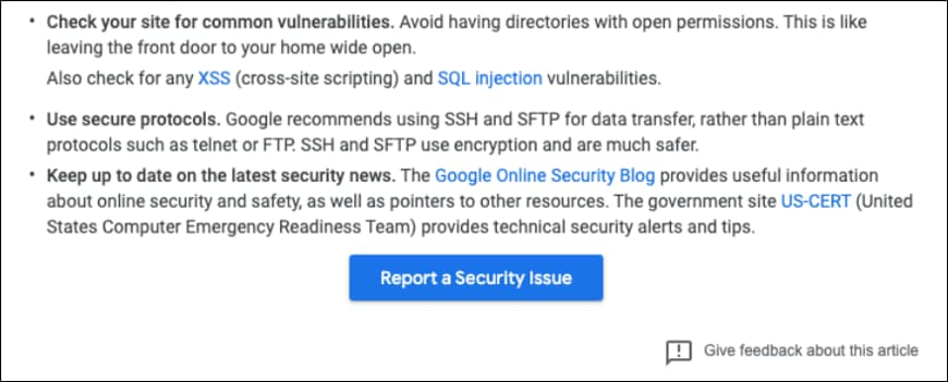 Reporting System for Security Issues