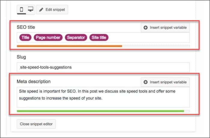 Title and Meta description field