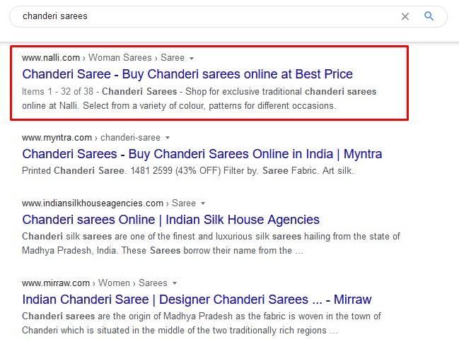 chanderi sarees ranking on #1 position