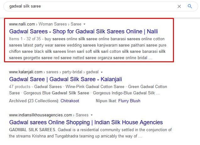 Nalli ranking #1 for gadwal silk saree