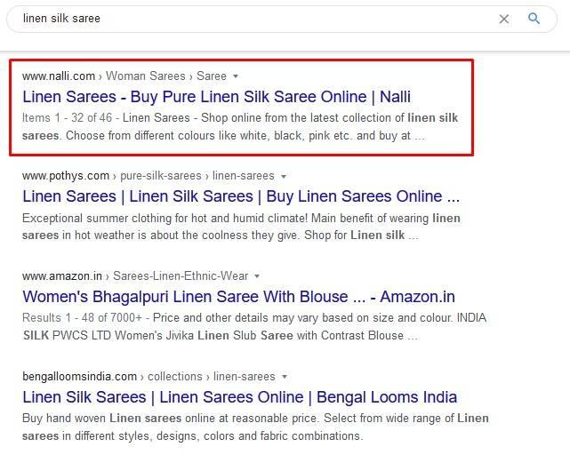 Nalli is ranking #1 on linen silk sarees