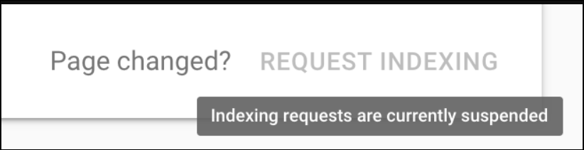Indexing Requests are Suspended