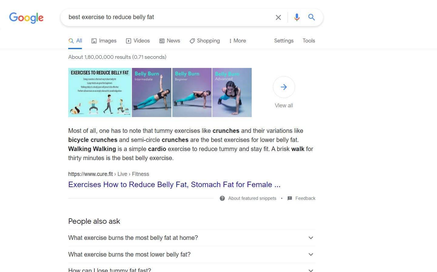 curefit keyword ranking