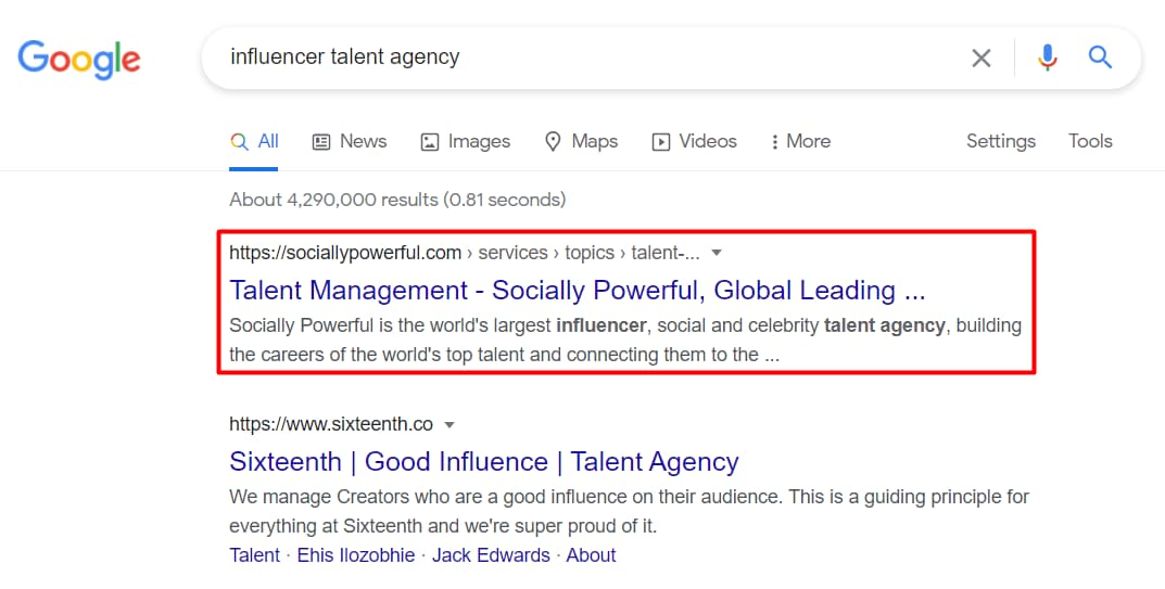 Influencer Talent Agency