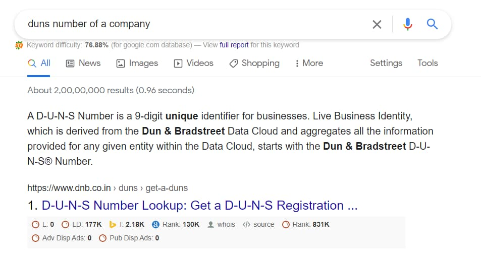 duns number of a company