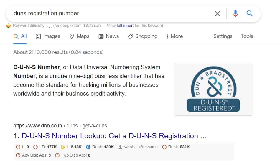 Duns Registration Number