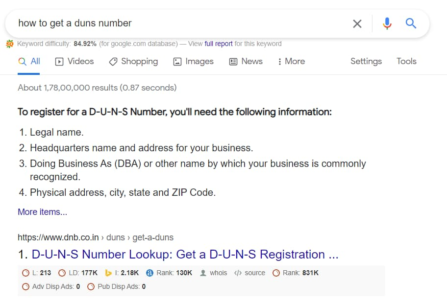 how to get a duns number